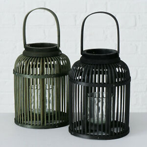 Round Bamboo Wood Windlight Home Garden Pillar Candle Glass Holder Lamp Lanterns