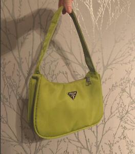Cute Y2k Mini Shoulder Bag Lime Green Nylon Baguette Vintage Style Hobo Dupe
