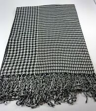 New Women Scarf Lady Wrap Shawl Stole Houndstooth Tassel Long Black From Taiwan