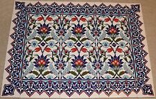 "Defective Blue 24""x32"" Turkish Iznik Floral Pattern Ceramic Tile Mural Panel"