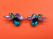 Rare Philippe Ferrandis Multicolor Crystal Earrings