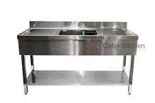 More details for stainless steel double drainer commercial restaurant catering sink 1500mm