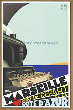 1930 Marseille  Côte D'Azur Travel Poster  Art Print 11 x 17 Train Rail Line