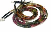 """Multi Tourmaline Gemstone 3-4 mm Rondelle Faceted Beads 18"""" Strand Necklace./"""