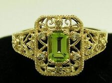 Natural Peridot Solitaire with Accents Fine Rings