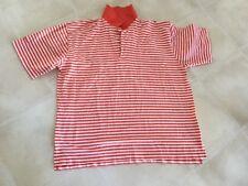 Mens Ben Hogan Size Large Polo Shirt Orange White Striped Short Sleeve