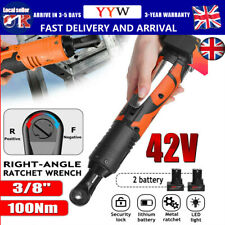 UK 42V 3/8'' 100Nm Electric Cordless Ratchet Right Angle Wrench LED + 2 Battery