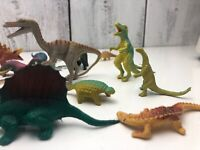 "LOT OF VINTAGE Mixed DINOSAUR PLASTIC TOY FIGURE FIGURINES 2""-4"" Good Shape"