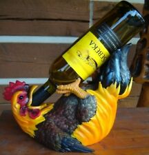 CHICKEN ROOSTER WINE BOTTLE HOLDER FARM COUNTRY BARN