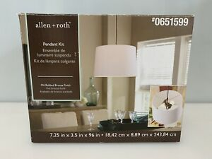 Allen + Roth Pendant Kit 651599 Oil Rubbed Bronze Metal Light Kit w/ Cord