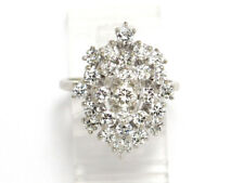 Right Hand Ring 1.76ct 7.1g 14k White Gold Round Diamond Cluster