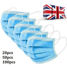 Face Mask Disposable Mouth Cover 3PLY Breathable Anti Bacterial Dust UK