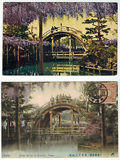3 cards about Drum Bridge and Glucines in Komeido, Tokyo, Japan, 1920s