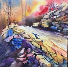 "12""X12"" Pamela Wilhelm Original Watercolor Sunlit Colorful Rocky Hiking Trail"
