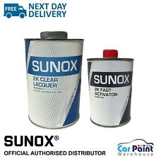 """Sunox """"SUPER"""" 2k Acrylic Clear Lacquer & Activator 2 pack clear coat KIT 1.5L"""