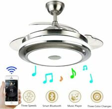 "42"" Modern Bluetooth Invisible Ceiling Fans LED Light Music Player Chandeliers"