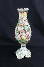 "Vintage Capodimonte Porcelain Large Vase 13"" Italy 626 Gold Trim Great Color!"