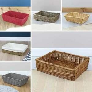 Wicker Hamper Basket Empty Gift Tray Shallow Storage Christmas Birthday Present