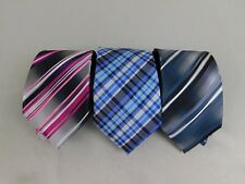 Lot 3 John Ashford Ties - Ombre Stripe Pink Stripe Blue Plaid - Polyester #1918