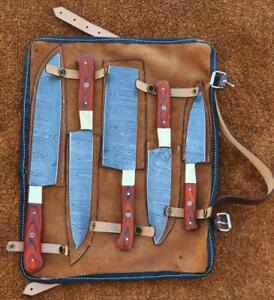 Rare!!! Custom Handmade Damascus Steel Chef Knives Set with Leather Carry Bag