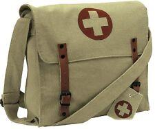 KHAKI Vintage Medic Nato Red Cross Canvas Military Shoulder Bag 9121