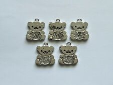 5 Silver Rhinestone Teddy Bear Jewellery Craft Charms Pendants 20x18mm