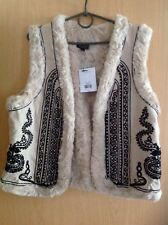 Topshop Premium Cream Ivory Faux Fur and 50% Wool Gilet Waistcoat - Size 12