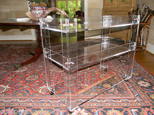 """Lucite Bar Cart - 3 level - 30"""" x 12"""" x 36"""" high  - Clear Acrylic on casters"""