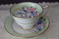 AYNSLEY BONE CHINA ENGLAND TEACUP AND SAUCER - PALE GREEN WITH FLORAL SPRAY