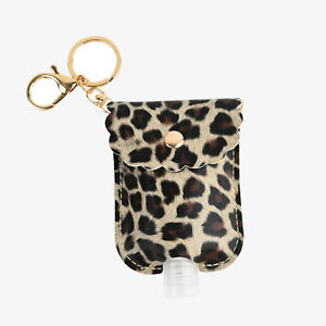 PU Leather Keyring and Bag Charm Accessory BROWN LEOPARD PRINT