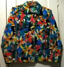 Additions by Chico`s Colorful Floral Cotton Jacket 2 Large  (12-14)