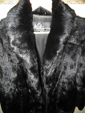 Niki Women's Black Rabbit Fur Long Full Length Coat Jacket Medium Awesome EUC