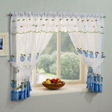 Blumenmuster / Äpfel Küche Fenster Set Schleierstoff Netz Vorhang Slot TOP