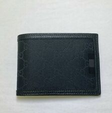 New Gucci Men's Black Nylon Guccissima Bifold Wallet w/Web Detail 278596 8615