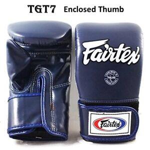 Fairtex Bag Gloves Cross Trainer TGT7 Closed Thumb Navy Blue  Boxing MMA K1