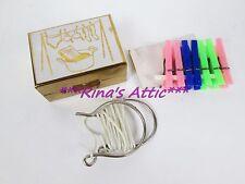 Vintage Miniature Doll CLOTHES LINE Travel Laundry Kit Set w/Metal Box & Pins