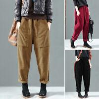 Mode Femme Couleur Unie Pantalon Deux Poche Style Harlan Ample Casual Oversize