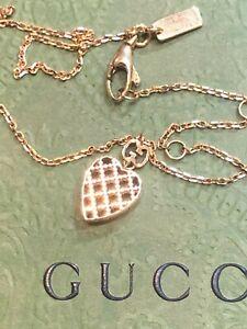 Gucci 18k Gold Diamantissima Heart Pendant Necklace Italy NEW