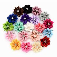 20/40pcs Satin Ribbon Flowers Bows Rhinestone Appliques Sewing Craft Wedding DIY
