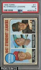 1968 Topps #11 NL Strikeout Leaders Chicago Cubs PSA 9 MINT