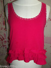 """""""HOLLISTER"""" Tank Top, Size Medium, Ruffles and Lace in Hot Pink, Cotton Blend"""