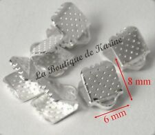 30 EMBOUTS PINCES ATTACHE RUBANS METAL ARGENTE CLAIR 8 x 6 mm - BIJOUX PERLES