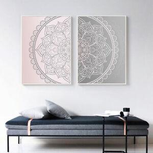 Pink Gray Mandala Abstract Canvas Poster Boho Wall Art Geometric Print Picture