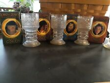 2001 Burger King Lord Of The Rings Fotr Light Up Glass Goblets Complete Set Of 4