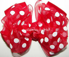 Girls Hair Bow Red Polka Dot 4 Inches Organza Satin Alligator Clip Minnie Mouse