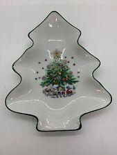 Salem Christmas Eve 6 In Tree Shaped Dish NEW Green Border