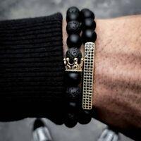 2pcs Crown Natural Stone Beaded Bracelet Men Matte Lava Volcanic Beads Jewellery