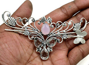 Rose Quartz & Topaz Gemstone Handmade Silver Plated Jewelry Hair Pin Size-5""