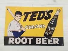 """TED WILLIAMS RETRO SIGN """"CREAMY ROOT BEER"""" BOSTON RED SOX 11 X 16"""
