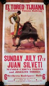 Vtg Early ORIGINAL Carlos RUANO-LLOPIS BULLFIGHTING POSTER Tijuana Juan Silveti